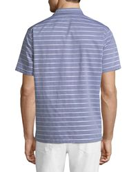 Neiman Marcus Blue Slim-fit Wear-it-out Dobby Chambray Polo Shirt for men