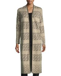 Neiman Marcus - Multicolor Geometric Knit Duster Cardigan - Lyst