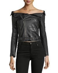 Haute Rogue Black Off-the-shoulder Fuax Leather Jacket