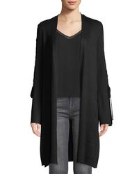 Love Scarlett Black Lace-up-sleeve Open-front Cardigan
