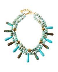 Nest Blue Double-strand Amazonite & Turquoise Necklace