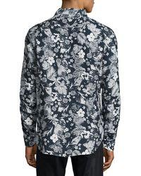 Culturata - Blue Floral-print Linen Sport Shirt for Men - Lyst