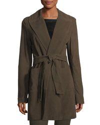 Neiman Marcus Green Belted Suede Wrap Coat