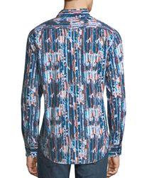 Robert Graham Blue Men's Classic-fit Bandlon Sport Shirt for men