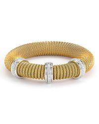Alor - Metallic Micro-cable Pave Diamond Spring Coil Bracelet - Lyst