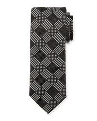 Bugatchi - Black Check-weave Silk Tie for Men - Lyst