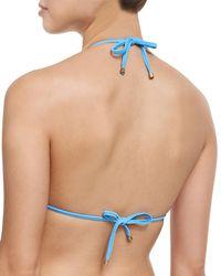 Vitamin A - Blue Natalie Merida Mitered Stripe Triangle Swim Top - Lyst