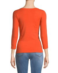 Three Dots Orange 3/4-sleeve Combed Cotton V-neck Tee
