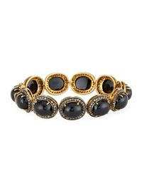 Bavna   Metallic Champagne Diamond & Black Onyx Cabochon Station Bracelet   Lyst