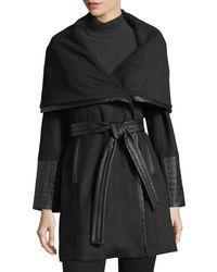 Via Spiga - Black Faux-leather Trimmed Wool Wrap Coat - Lyst