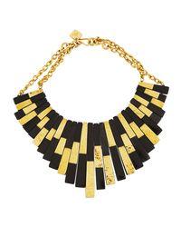 Ashley Pittman - Black Kifalme Dark Horn & Bronze Bib Necklace - Lyst
