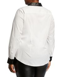 Go> By Go Silk White Plus Size Shirt With Faux-leather Trim
