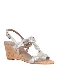 Donald J Pliner Metallic Jooli Leather Wedge Sandal