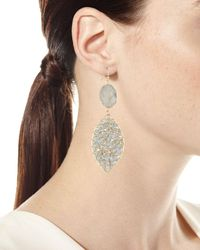 Panacea White Druzy Beaded Drop Earrings