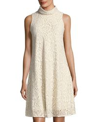 Neiman Marcus - White Sleeveless A-line Lace Dress - Lyst