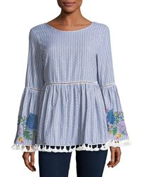 Glamorous Blue Floral-embroidered Striped Top