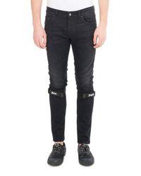 Palm Angels Black Logo-strap Denim Skinny Jeans for men