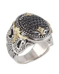 Konstantino - Metallic Asteri Ornate Round Pave Black Diamond Ring - Lyst