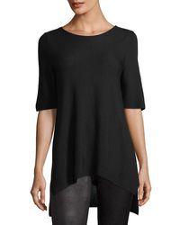 Eileen Fisher - Black Half-sleeve Links Sweater - Lyst