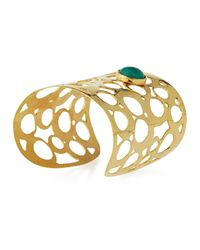 Devon Leigh - Metallic Wide Cutout Cuff Bracelet W/ Green Cabochon - Lyst