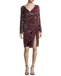 Nanette Lepore Multicolor Lolita V-neck Velvet Floral-burnout Day Dress