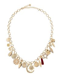 Lydell NYC - Metallic Mixed Charm Necklace W/ Crystals - Lyst