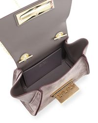 Zac Zac Posen Gray Eartha Iconic Mini Chain Suede Crossbody Bag