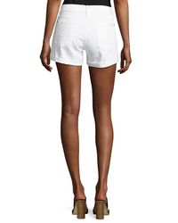 7 For All Mankind - White Roll-up Stretch-denim Shorts - Lyst
