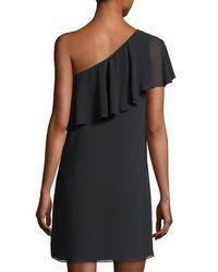 Cece by Cynthia Steffe - Black Crinkle Chiffon One-shoulder Minidress - Lyst