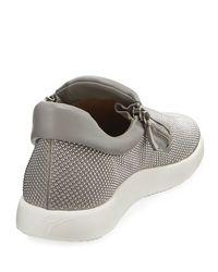 Giuseppe Zanotti Gray Leather Studded Platform Sneaker for men