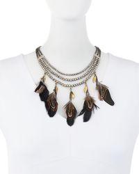 Nakamol - Metallic Triple-strand Feather Charm Necklace - Lyst