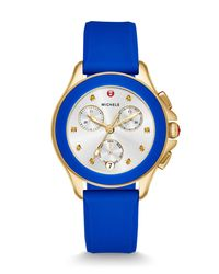 Michele Blue 34mm Cape Topaz Gold Ip Chrono Watch With Silicone Strap