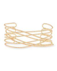 Panacea - Metallic Crisscross Diamond-cut Cuff Bracelet - Lyst
