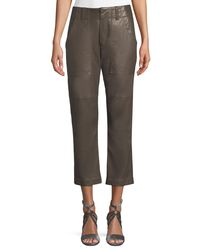 Brunello Cucinelli - Brown Leather Utility-pocket Pants - Lyst