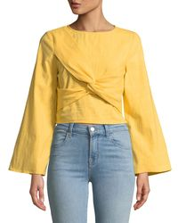 Haute Rogue - Natural Marilyn Satin Bow Blouse - Lyst