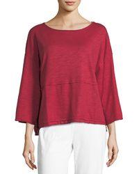 Neon Buddha Red Retro Raw-edge Pullover Top