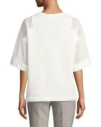 Akris Punto White Short-sleeve Mesh Panel Sweatshirt