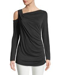 Love Scarlett Black Long-sleeve Asymmetric Gathered Blouse