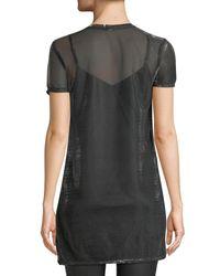 Love, Fire Metallic Shimmer Mesh T-shirt Dress