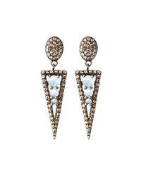 Bavna - Metallic Silver Spike Drop Earrings With Diamonds & Rainbow Moonstone - Lyst