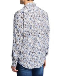 Bugatchi White Men's Botanical-print Shaped-fit Sports Shirt for men