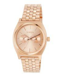 Nixon Metallic 37mm Time Teller Deluxe Bracelet Watch Rose Golden