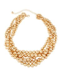 Lydell NYC - Metallic Beaded Torsade Necklace - Lyst