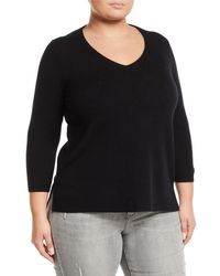 Neiman Marcus Black Cashmere V-neck Sweater