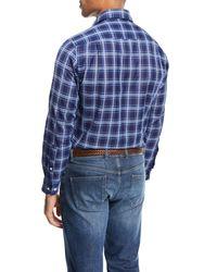 Peter Millar Blue Paradise Plaid Sport Shirt for men