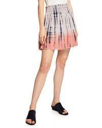 Lilla P Pink Smocked Waist Tie-dye Mini Skirt