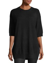 Vince - Black Cashmere Slouchy Elbow-sleeve Sweater - Lyst