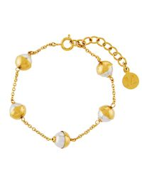 Majorica - Tea Cup Yellow Golden 7mm White Pearl Bracelet - Lyst