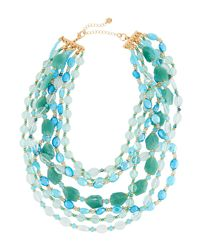 Lydell NYC - Blue Multi-row Beaded Necklace - Lyst
