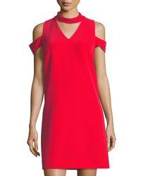 59c69e8918ea Lyst - Tahari Choker-collar Crepe Sheath Dress in Red